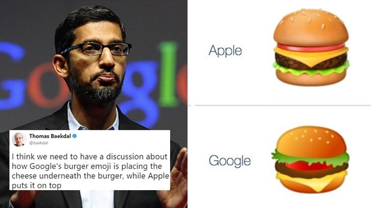 emoji รูปเบอร์เกอร์ หลังวางชีสผิดตำแหน่ง!<br> ซีอีโอ Google สั่งทีมงานรีบแก้